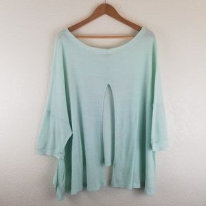 Free People Teal Green Waffle Knit Butterfly Top